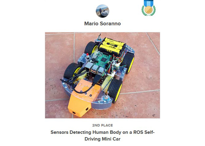 Award I won - Sensors Detecting Human Body on a ROS Self-Driving Mini Car